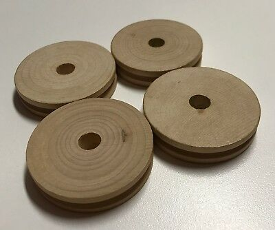 Wood Tinkertoy Replacement Parts Pieces Lot of 4 PULLEYS Tinker Toy Wooden