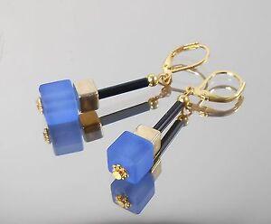 Ohrhänger in Blau-Gold  / Würfel Perlen matt 8mm  + Hämatit 6 mm / Brisur