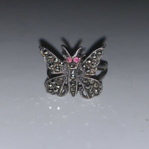 Sterling Silver Ladies Marcasite Butterfly Ring