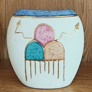 Southwest Vase Nizhoni Originals Hand Painted Ceramic Pottery Gold Pueblo Arrows