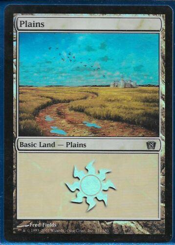 Magic MTG - 8th Eighth Edition Basic Land Fred Fields FOIL Plains #334 EX