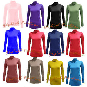 WOMENS-LONG-SLEEVE-TURTLE-NECK-TOP-JERSEY-ROLL-NECK-JUMPER-POLO-NECK-SWEATER