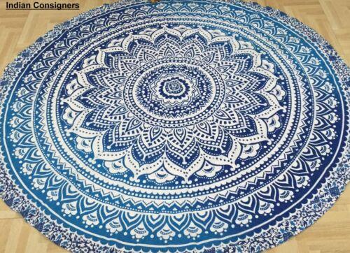 Round Omber Mandala Cotton Fabric Beautiful Decorative Roundies Beach Tapestries
