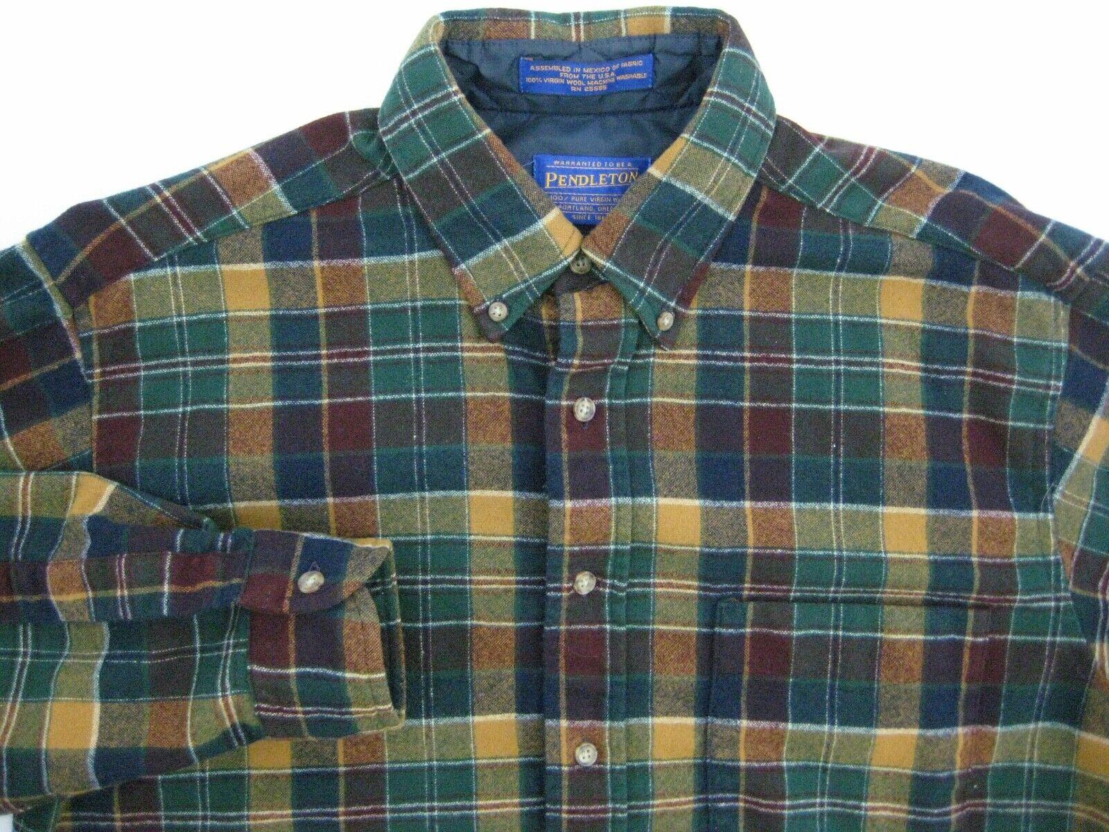 Pendleton Virgin Wool Plaid Button Down Mens Long Sleeve Vintage Shirt - Medium