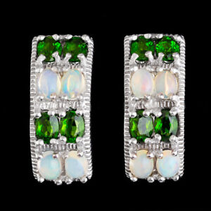 100-NATURAL-CHROME-DIOPSIDE-amp-MULTI-FIRE-ETHIOPIAN-OPAL-AAA-SILVER-925-EARRING