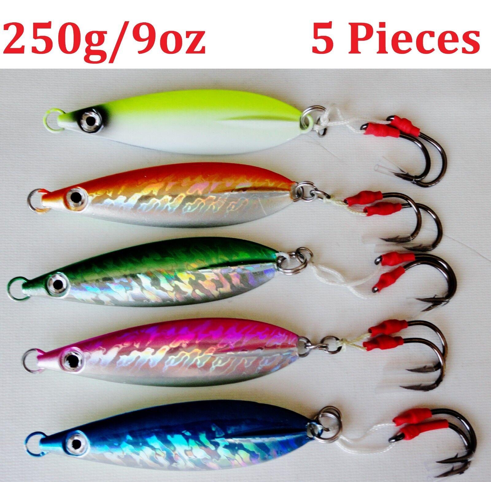 5 pc Fast Fall greenical Keel Flat Knife Jigs 250g (9oz) Saltwater Fishing Lures