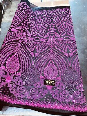 Sold By The Yard Geometric 4 Way Stretch Sequins Fabric Iridescent Pink Geometric Diamond Design