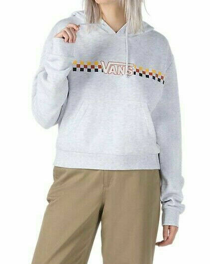 Vans Women's White Heather Banded Crop Hoodie - Size S NWT