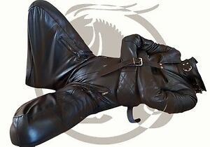 Leather Strait jacket Straight Puppy Suit Jacket Bondage Padding ...