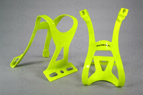 Soma Oppy X 1-Strap Toe Clips Neon Yellow S//M Pair Track Fixed Gear Road Bike