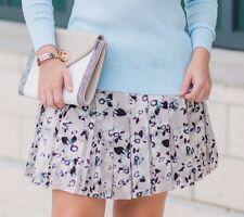 Banana Republic Floral Box Pleated Lavender Mini Skirt Womens 12 Large NWT