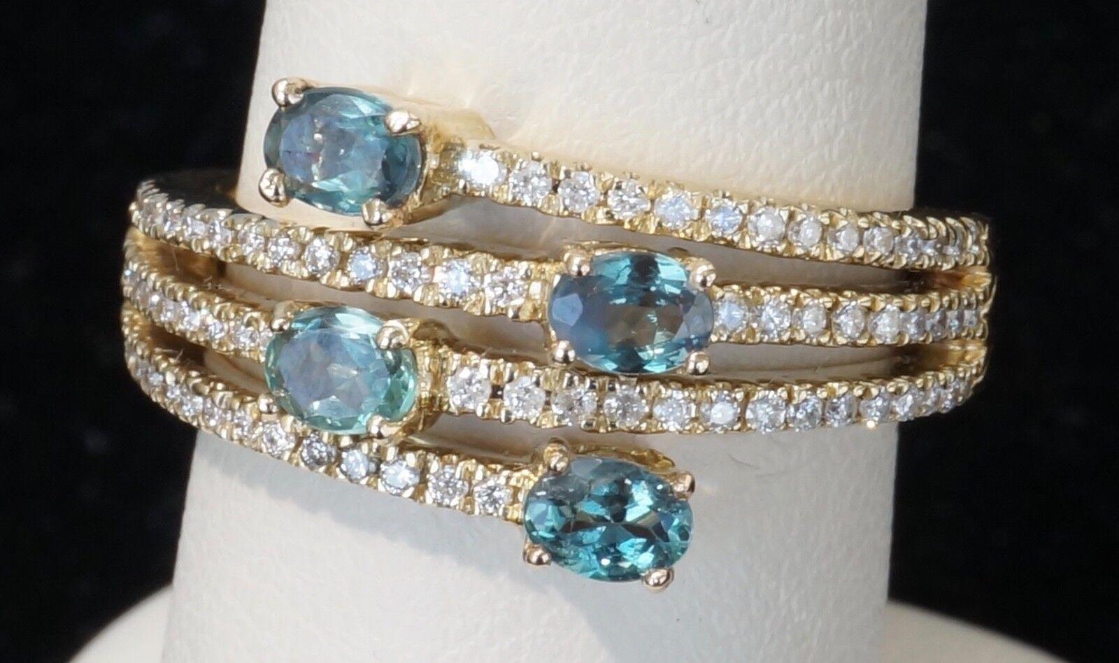 14K Yellow gold Mark Henry .30 Diamond & .64 ctw Alexandrite Ring Size 7
