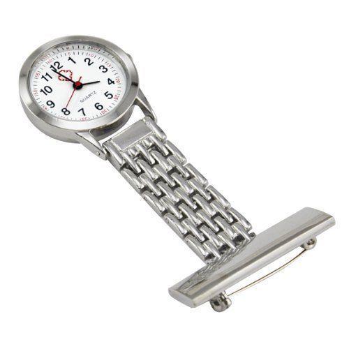 Stainless Steel Nurse Watch Silver Quartz Fob Pocket Brooch+FREE 2 BATTERIES AG4