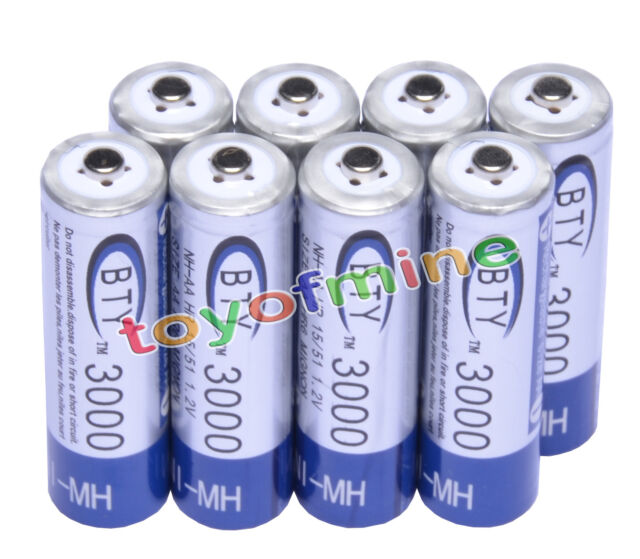 8pcs AA 3000mAh 1.2V Ni-MH rechargeable battery BTY cell for Camera MP3 RC Toys