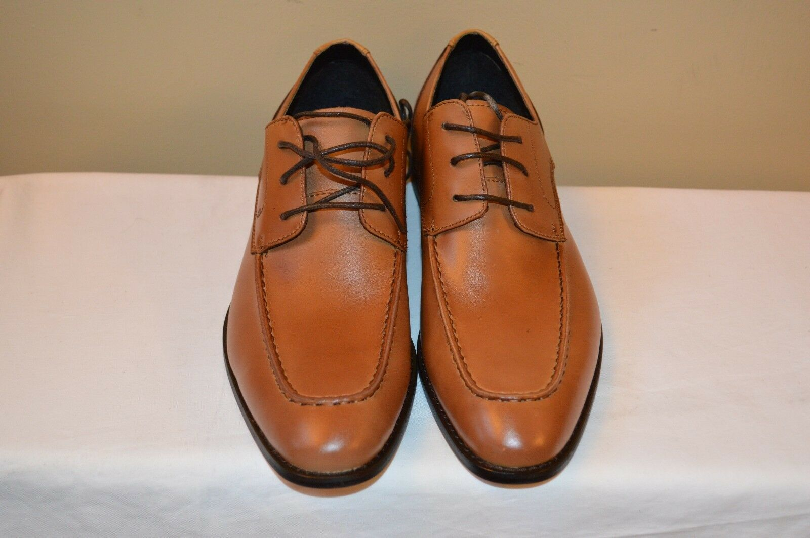 Homme British Tan en cuir à lacets Moc Toe Derbies par Made Cam Newton Taille 10