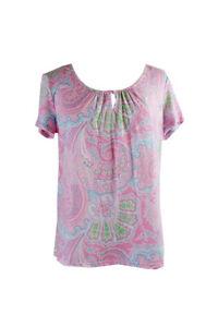 Lauren Ralph Lauren Pink Short-Sleeve Printed Pajama Top M