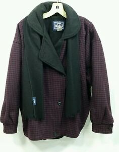 W Full Vtg Lilla Uld Scarf Plaid Zip Medium Sort Usa Jakke Woolrich Check w8qOpg1