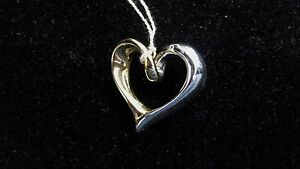 14k-Solid-Yellow-amp-White-Gold-Open-Heart-Polished-Pendant-Fine-Jewelry-2g