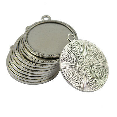 10x 20mm cabochon base pendant setting trays diy blank jewelry bezels silver