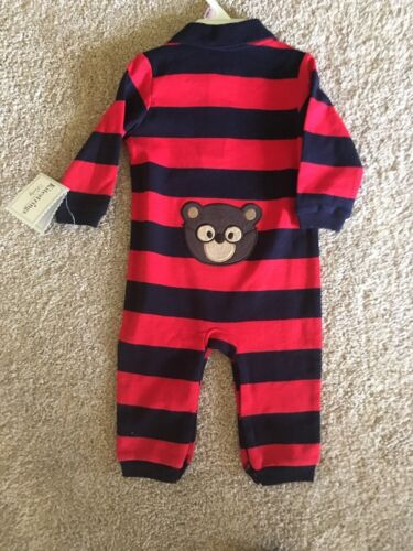 6-9 Mth RP $42 NWT Kitestrings LS Polo Romper Red And Blue Striped  Sz