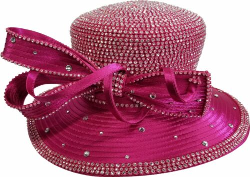 Women/'s Designer Couture Church Satin Ribbon Crystal Rhinestone Hat Fuchsia
