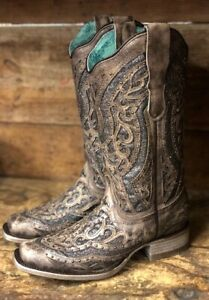 dd714c481d9 Details about Corral Women's Brown & Silver Studded Inlay Square Toe  Western Boots E1512