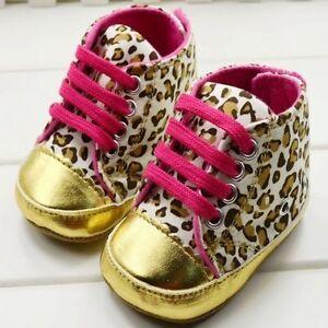 new product 9b650 9279d Details zu Baby Schuhe Babyschuhe Krabbelschuhe Sneaker Leopard Geschenk  Geburt Gold pink