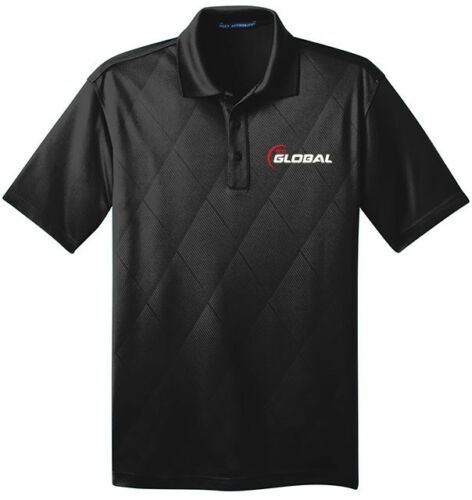 900 Global Men/'s Jewel Performance Polo Bowling Shirt Dri-Fit Argyle Black White