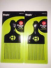 2 Professional Black Afro Hair Metal Pick Pik Super Fist (NEW)