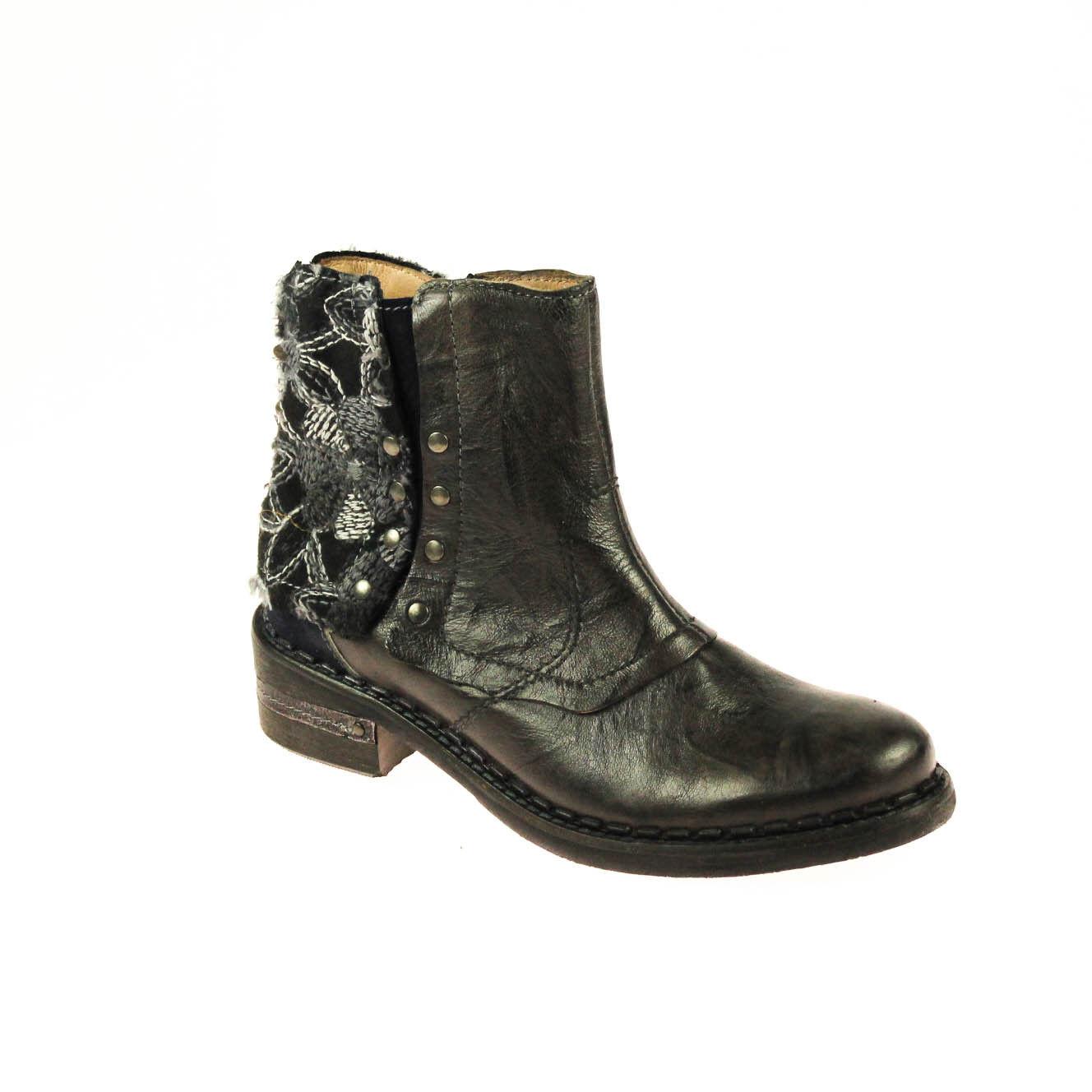 Encanto señora botín semi zapato de cuero marrón marrón oscuro azul multiColor