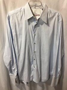 Robert-Graham-Men-s-Blue-Floral-Etch-Long-Cuff-Button-Up-Dress-Shirt-Size-Sz-2XL