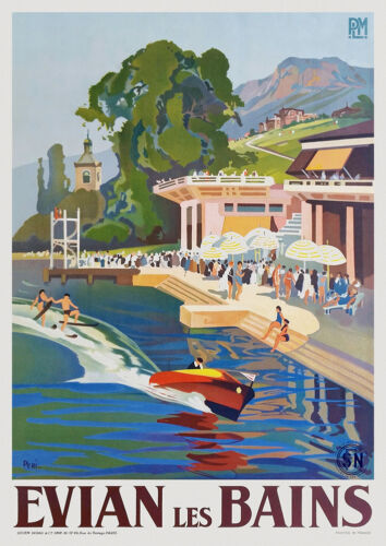 Art Deco French Travel Poster Evian les Bains 1930s Water Skiing Lake Geneva