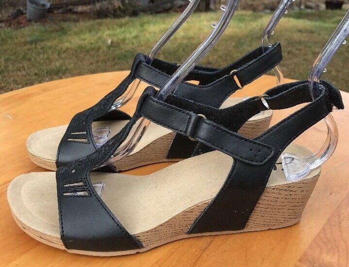 Clarks Women's Black Leather Adjustable Ankle Strap Wedges Size Size Size 7.5M US 0835ea