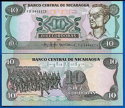 Nicaragua P-151 10 Cordobas Year 1985 Uncirculated