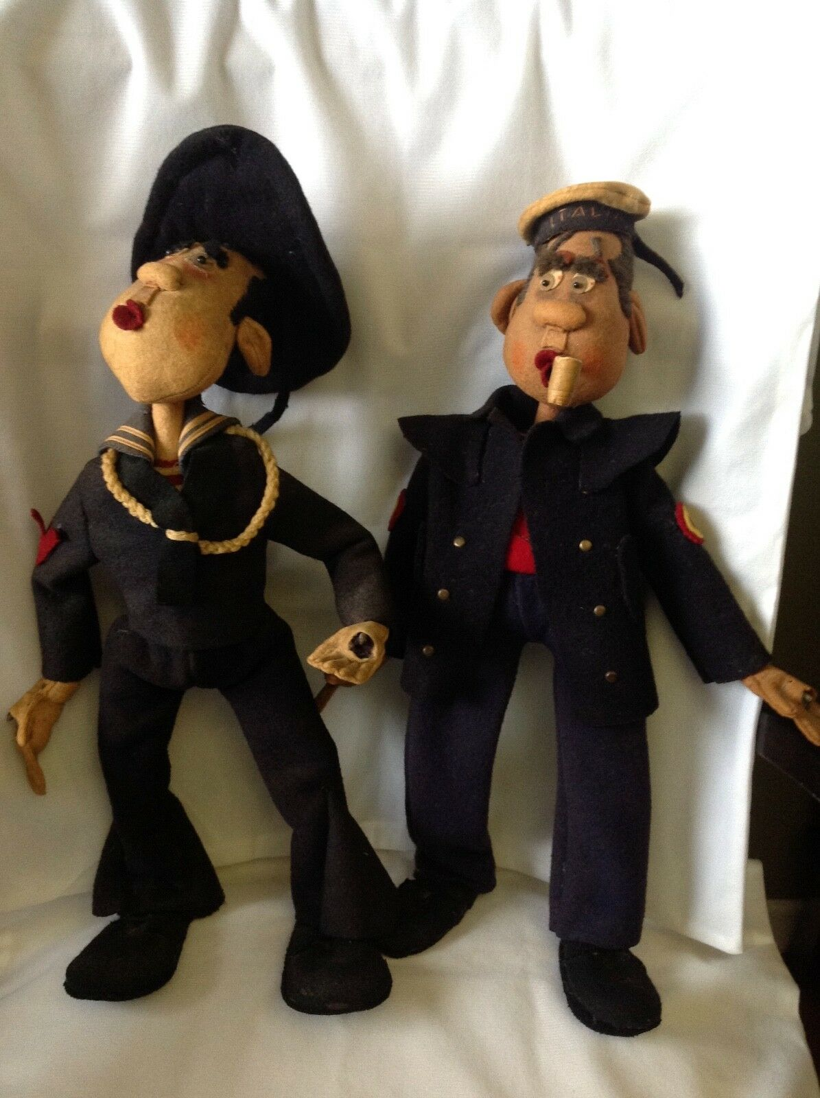 Vintage Felt Cloth Italain Sailor Large Dolls with Funny Expressions  L@@@K