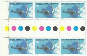 1979-6-x-20c-Stamps-039-AAT-50th-Anniv-First-Flight-South-Pole-039-Edge-Gutter-Block