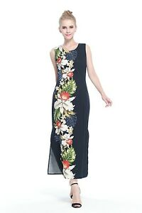 10fcef3be264 Made In Hawaii Women's Hawaiian Luau Maxi Tank Dress in Black Side ...