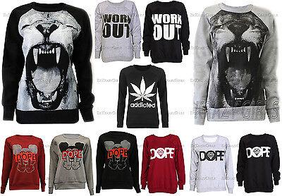 New Womens Graphic Print Sweatshirt Jumper Sweater Top Ladies Size UK 8-10 12-14