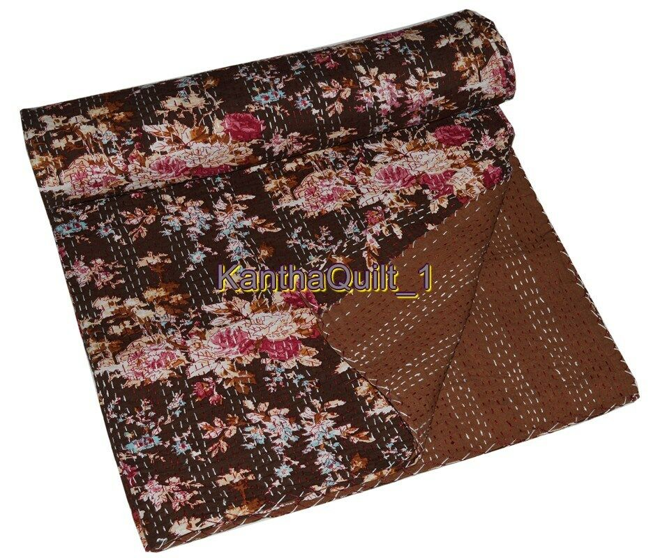Indian Handmade King Kantha Quilt Blanket Bedspread Reversible Throw Ralli Gudri