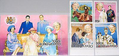 Haben Sie Einen Fragenden Verstand Burkina Faso 1985 1012-15 Block 95 A 703-7 Queen Mother 85th Birthday Royals Mnh Hell In Farbe Afrika