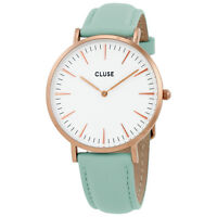 Cluse CL18021 La Boheme Pastel Mint Leather Women's Watch (White Dial)