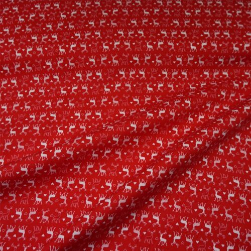 2 Colours Reindeer Per Metre Stag /& Heart Printed 100/% Craft Cotton Fabric