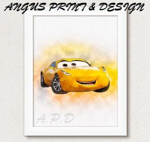 CRUZ RAMIREZ  Disney Pixar Cars WATERCOLOUR  Picture Birthday Gift  A4