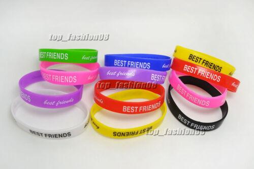 Wholesale Lots Retail 100PCS Best Friend Rubber Friendship Bracelets FREE