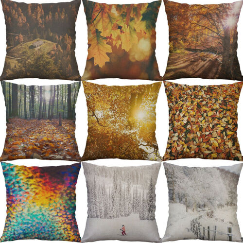 Printing autumn forest Leaf Cotton Linen Pillow Case Cushion Home Décor Cover