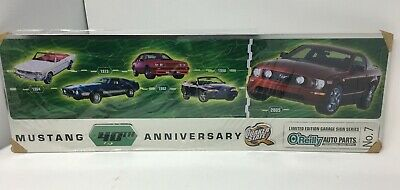 FORD MUSTANG 40TH ANNIVERSARY QUAKER STATE O/'REILLY AUTO PARTS METAL SIGN RARE