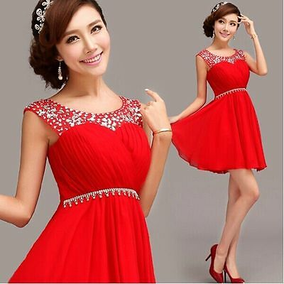 L85 New Short Formal Wedding Prom Party Bridesmaid Evening Ball Gown Dress Red
