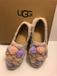 50bb40e11fe Details about Ugg Australia Women's Ricci Pom,Pom Faux Fur Slip On Shoes  Size 7 New.