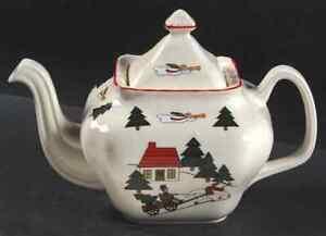 Mason-039-s-CHRISTMAS-VILLAGE-Tea-Pot-Imperfect-9945035