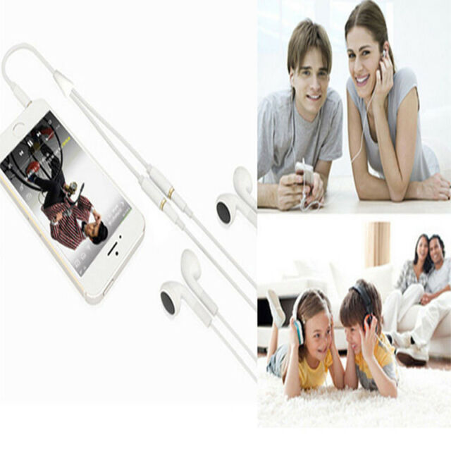 3.5mmAUX Audio Mic Splitter Cable Earphone Headphone Adapters 1 Male To 2 Female